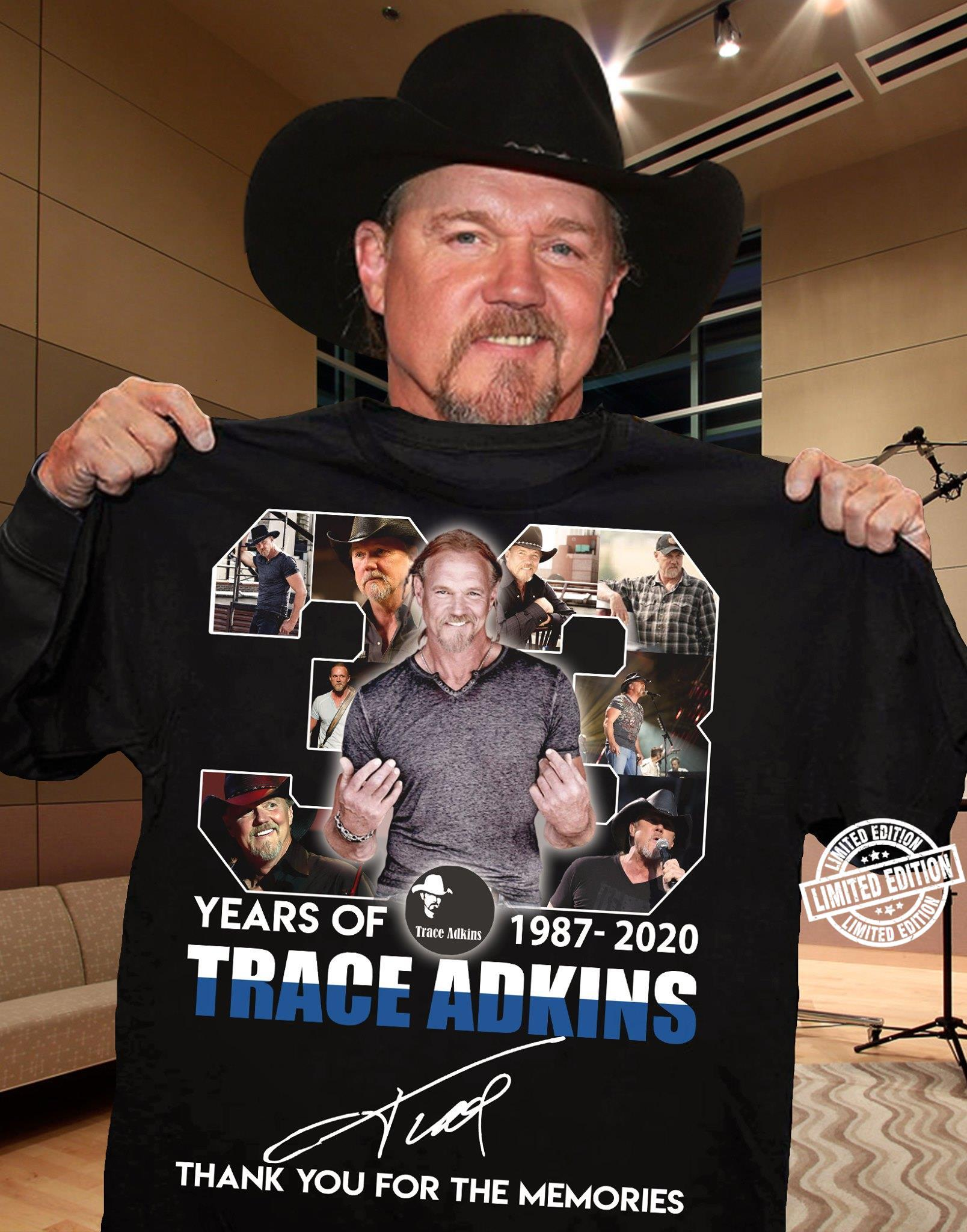 33 Years of 1987-2020 trace adkins thank you for the memories shirt