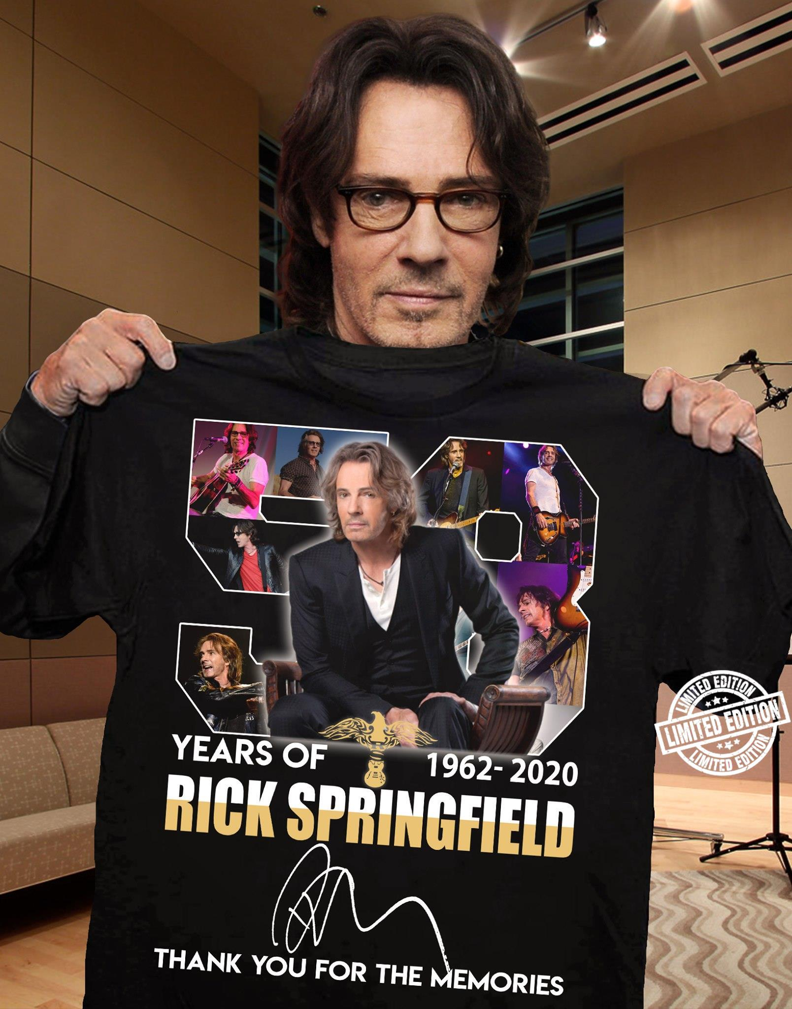 58 years of Rick Springfield 1962-2020 thank you for the memories shirt