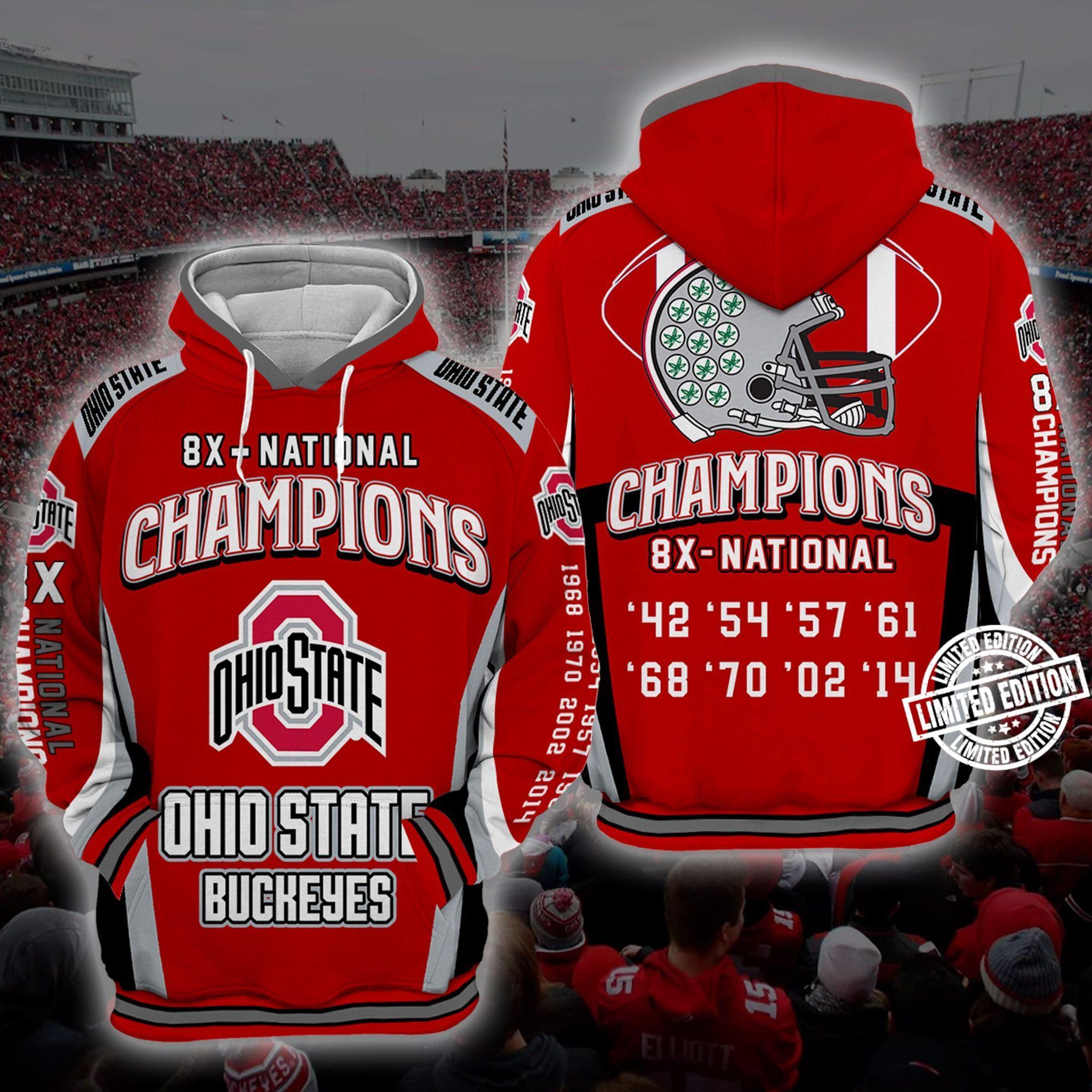 8x - national champions OhioState Buckeyes shirt