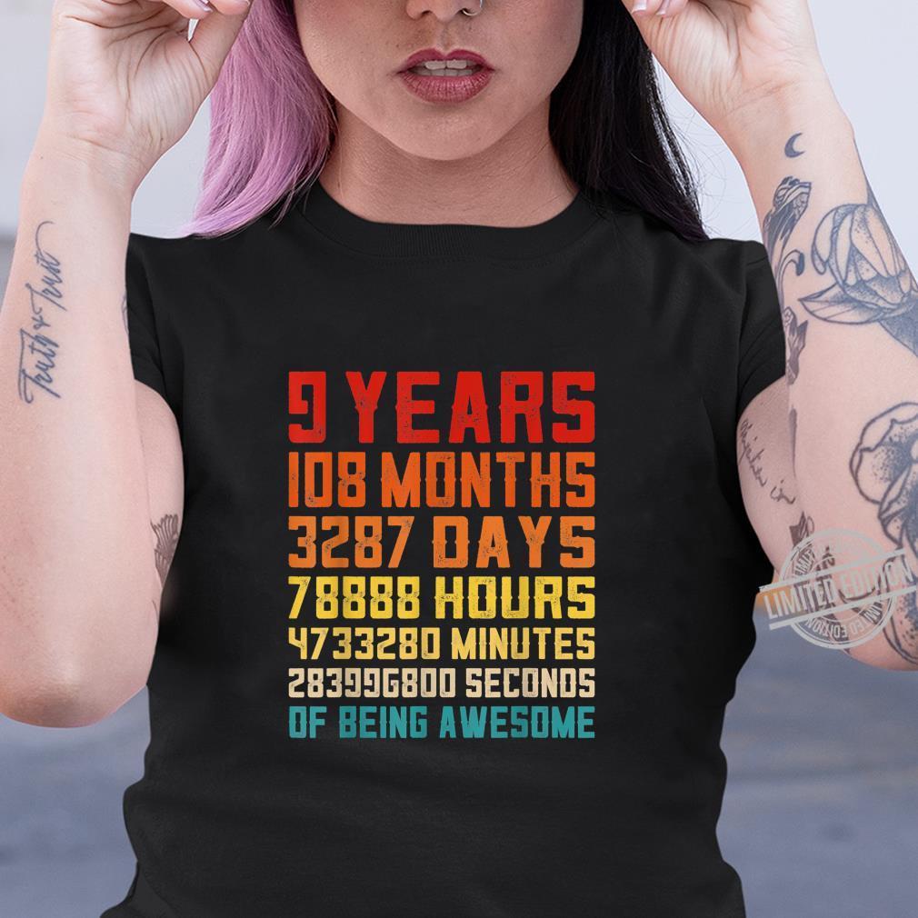9th Birthday Retro Vintage 9 Years Old 108 Months Shirt