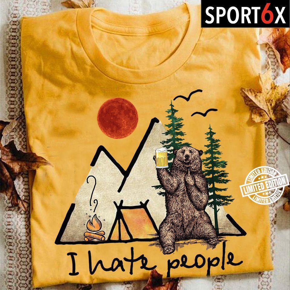 Bear I hate people shirt